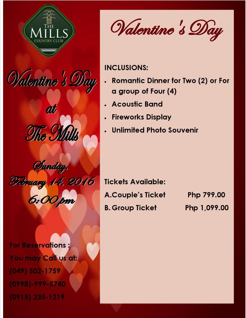 Valentine's Day at The Mills | The Mills Country Club
