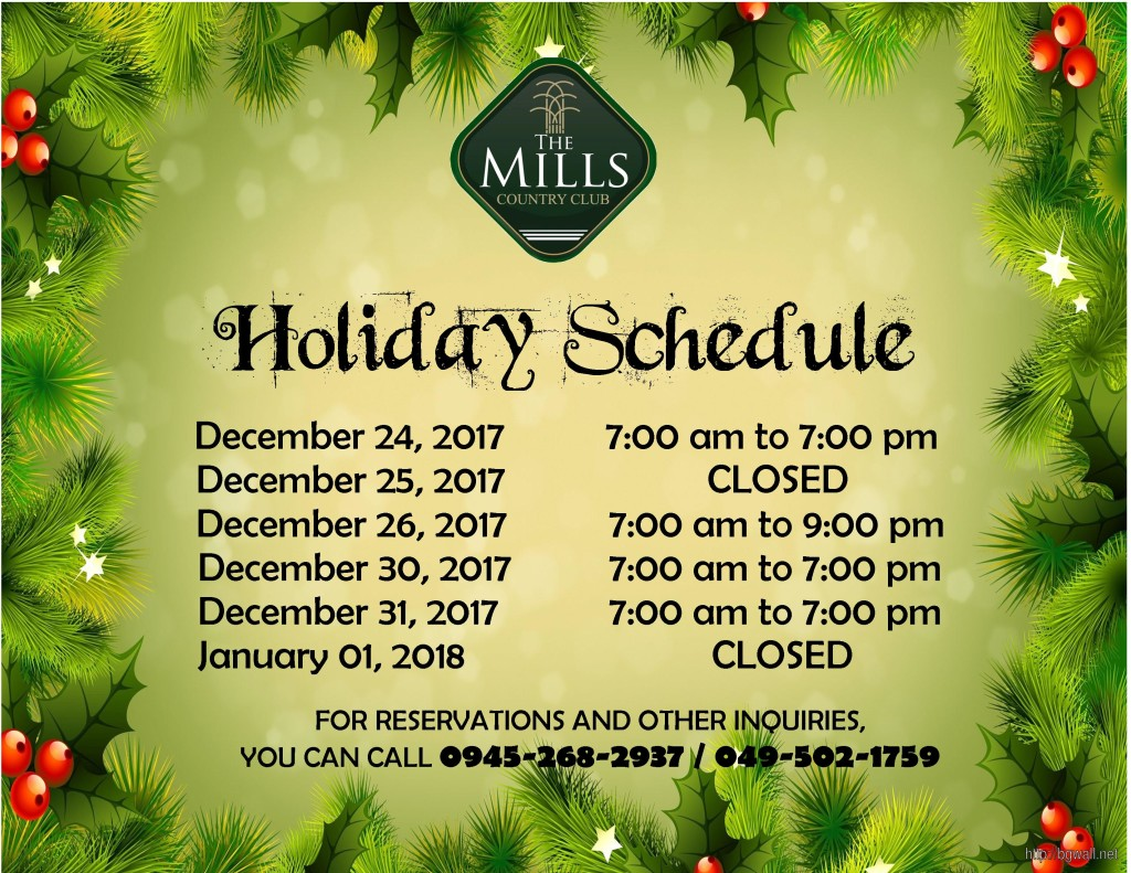 Holiday Schedule 2017